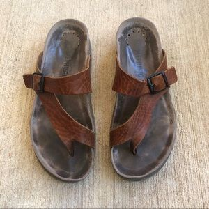 Mephisto Helen Brown Leather Footbed Sandals Sz 6